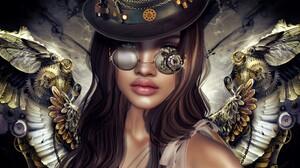 Girl Steampunk Wings Woman 4000x2119 Wallpaper