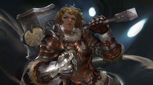 Woman Warrior Girl Blonde Hammer Armor Short Hair 4691x2480 wallpaper