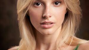 Alexander Vinogradov Women Blonde Looking At Viewer Green Clothing Portrait Simple Background 1366x2048 wallpaper