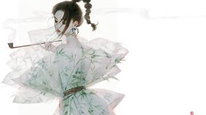Black Hair Dress Original Anime Smoking Pipe 4961x3366 Wallpaper