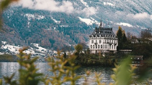 Castle Mansion Mountain Pond 3840x2160 Wallpaper
