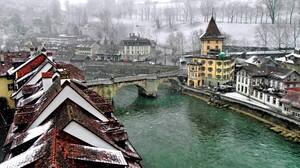 Bern Canal City House Snowfall Switzerland 2400x1800 Wallpaper