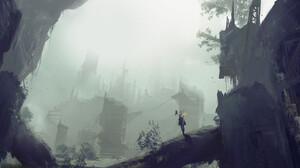 2B Nier Automata Nier Automata Ruins Nature City Mist Trees 1920x1194 wallpaper