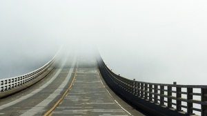 Asphalt Road Mist Construction Bridge Outdoors 2560x1600 Wallpaper