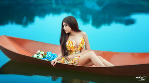 Asian Boat Flowers 2048x1151 Wallpaper