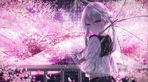 Cherry Blossom Rain Anime Anime Girls Umbrella School Uniform Silver Hair Twintails Blue Eyes Tears  1483x926 wallpaper