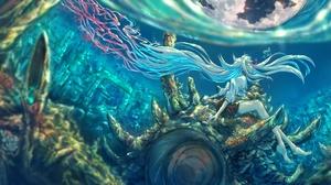 Blue Hair Girl Lize Helesta Long Hair Nijisanji Shell Underwater Virtual Youtuber 5644x2500 Wallpaper