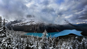 Banff National Park Canada Earth Forest Lake Mountain Snow Winter 2048x1165 Wallpaper