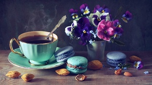 Coffee Cup Flower Macaron Still Life 2048x1382 Wallpaper