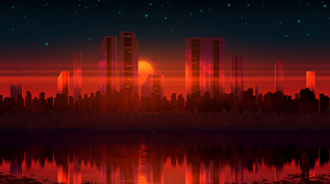 Cityscape Reflection Sunset 2560x1440 Wallpaper