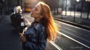 Women Blonde Closed Eyes Depth Of Field Portrait Women Outdoors Anny Nelson Choker Luca Foscili Jean 2048x1367 Wallpaper