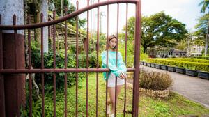 Asian Model Women Women Outdoors Long Hair Dark Hair Depth Of Field Bushes Trees Grass Shorts Sweate 3840x2561 Wallpaper