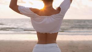Women Irina Dreyt Brunette Holding Hair Sunlight Sun Rays White Clothing Shorts Shore Beach Horizon 1080x1307 Wallpaper