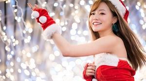 Asian Bokeh Brunette Girl Light Model Smile Woman 2048x1367 Wallpaper