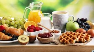 Breakfast Coffee Croissant Cup Fruit Honey Jam Juice Milk Still Life Waffle 8688x5792 Wallpaper