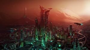 Cityscape Futuristic Skyscraper 2000x1414 wallpaper