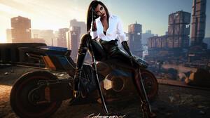 Cyberpunk Women Face Sword Katana City Sitting High Heels Brunette Long Hair White Blouse White Shir 3840x2381 Wallpaper