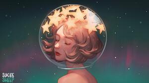 Artwork Fantasy Art Women Stars 1508x868 Wallpaper