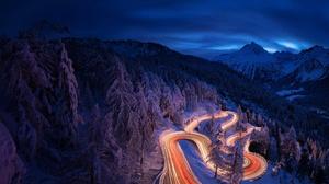 Night Landscape Road Winter Forest Mountain Snow 2048x1366 Wallpaper