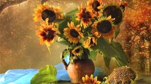 Fall Pitcher Still Life Sunflower Vase Yellow Flower 1960x1619 Wallpaper