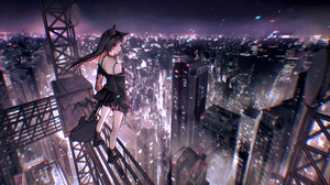 Anime Anime Girls Guitar City City Lights Skirt Multicolored Hair Black Hair Cat Ears Boots Night Re 2554x1199 Wallpaper
