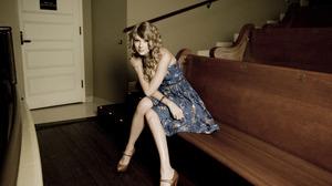 Blonde Blue Dress High Heels Long Hair Singer Sitting Taylor Swift Woman 4992x3328 Wallpaper