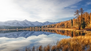Mountain Top Mountains Landscape Nature Water Reflection Trees Sky Overcast Photography 1920x1207 wallpaper