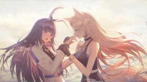 Anime Anime Girls Digital Art Artwork Portrait 2D Animal Ears Long Hair Dark Hair Blonde 1920x887 Wallpaper