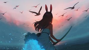 Anime Anime Girls Bunny Ears Birds Clouds Sword Backpacks Dark Hair Long Hair Sea 4000x2250 Wallpaper
