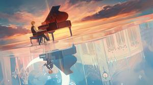 Blonde Moon Piano Short Hair Sunset 5200x4000 wallpaper