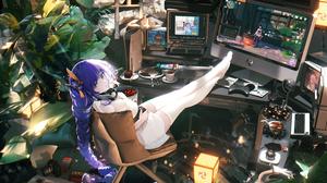 Anime Anime Girls Looking At Viewer Legs Long Hair Monitor Computer Purple Hair 5210x3500 Wallpaper