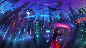 Futuristic Girl Planet 2025x1080 Wallpaper