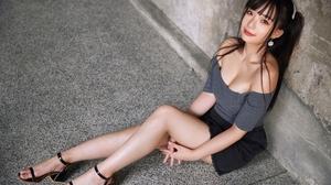 Ning Shioulin Women Model Asian Brunette Bare Shoulders Crop Top Sitting Looking At Viewer Portrait  2560x1707 wallpaper