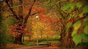 Fall Foliage Park Steps Street Light Tree 2880x1800 Wallpaper