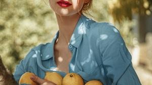Women Model Food Fruit Red Lipstick Looking At Viewer Women Outdoors Outdoors Makeup Brunette Lemons 1600x2000 Wallpaper