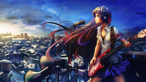 Anime Anime Girls Microphone Headphones Bass Guitars Guitar Cityscape Izechou 3840x2160 Wallpaper