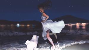 Anime Girls Water Original Characters Night Dog Sky Dress Sun Dress Beach Feet 1966x1240 Wallpaper