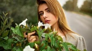 Women Women Outdoors Blonde Road Flowers Depth Of Field 2560x1707 Wallpaper