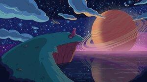 Artwork Cats Night Stars Clouds Sea Planet 3840x2160 Wallpaper