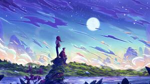 Christian Benavides Digital Art Fantasy Art Clouds Hills Grass Stars Night Traveler Mountains Moon S 3840x2160 Wallpaper