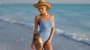 Women Model Tattoo Beach Red Nails Hat Short Hair Leotard Blonde Giorgia Soleri 2048x1367 wallpaper