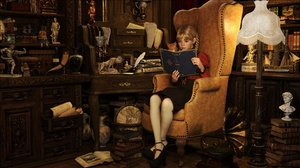 Armchair Book Cat Girl Lamp Room Vintage 1920x1080 Wallpaper