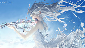 Girl Original Anime Violin Violinist White Hair 3000x1514 Wallpaper