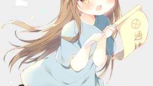 Anime Girls Platelet Chan Blush Long Hair Hataraku Saibou Brunette Baseball Cap Brown Eyes Blue Dres 1400x1944 Wallpaper