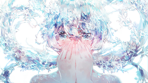 Anime Anime Girls Aqua Eyes Short Hair White Background Looking At Viewer Water Splashes Water Drops 4093x2894 Wallpaper