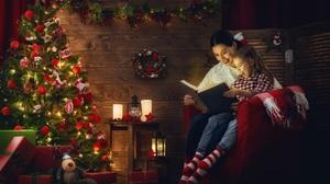 Book Christmas Christmas Lights Christmas Tree Girl Little Girl Woman 2560x1778 Wallpaper