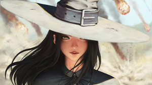 Brown Hair Face Fantasy Girl Witch Witch Hat 1920x1164 Wallpaper