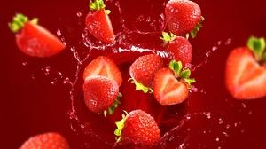 Food Fruit Colorful Berries Strawberries Water Drops Splashes 2560x1731 Wallpaper