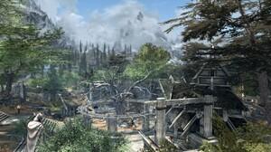 The Elder Scrolls V Skyrim Trees Fantasy City Mist Mountains Whiterun Statue 2560x1440 Wallpaper