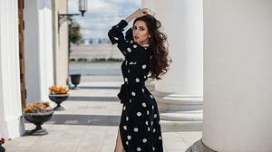 Model Women Red Lipstick Standing Black Dress Hands In Hair Women Outdoors Necklace Anton Harisov 2000x1125 Wallpaper